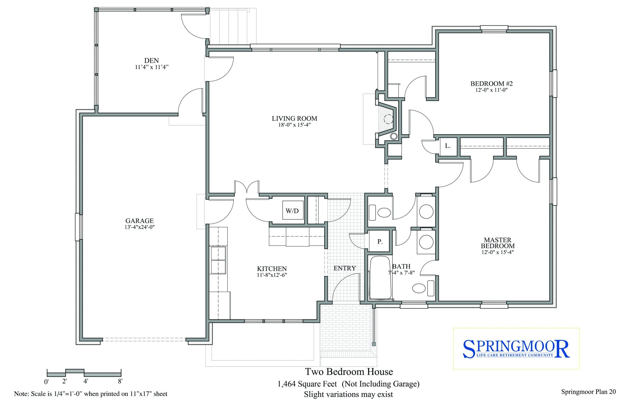 Two Bedroom House Floor Plan Option With A Bath And A Half