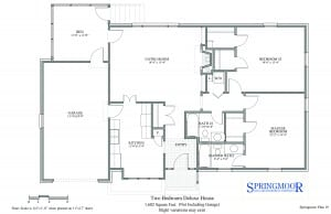 Two bedroom house floor plan option with two full baths