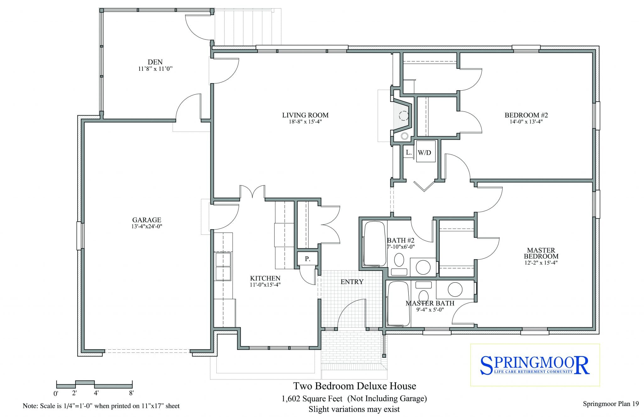 Two Bedroom House Floor Plan Option With Full Baths