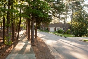 Tree-lined streets throughout the campus