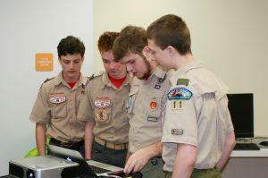 Teaching Scouts Parker Barlow, Justin Newton, Jackson Barlow and David Bass