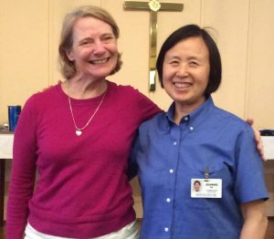 Terri McMahon with 30 years and Jeanne Gu with 20 years of service to the community