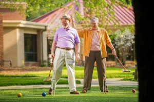 Residents enjoy friendly competitions with Croquet, Putting on the Green and Horseshoes each week