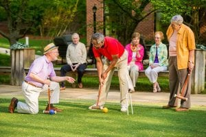 On Saturdays you will find a lively game of croquet on the South Village lawn