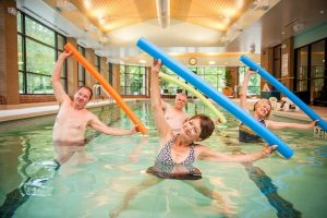 Our saltwater lap pool is a popular venue for those who like water aerobics, lap swimming and water volleyball