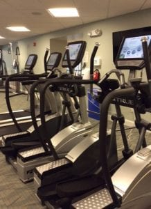 When they are not in the water, residents use the treadmills for more cardio fitness