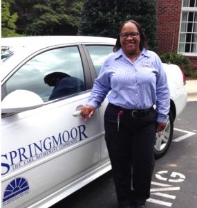 Brenda, a former NCSU Wolfline driver, loves her new Springmoor residents