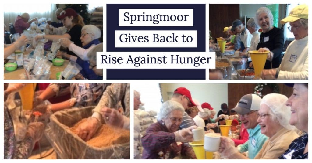 By helping with its food collection and packaging each year, Springmoor gives back to Rise Against Hunger