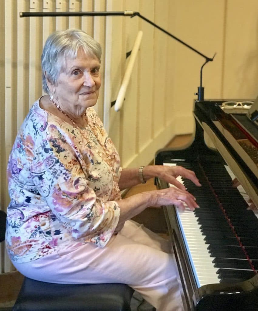 Music at Springmoor is bolstered by residents like Mary Alice Hale, who enjoy playing the piano for vespers.