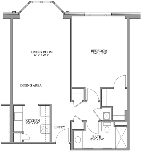 Springmoor's 1BR deluxe floorplan is a popular option for folks seeking an ideal NC retirement.