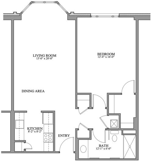 Springmoor's 1BR deluxe floorplan is a popular option for folks seeking an ideal NC retirement.